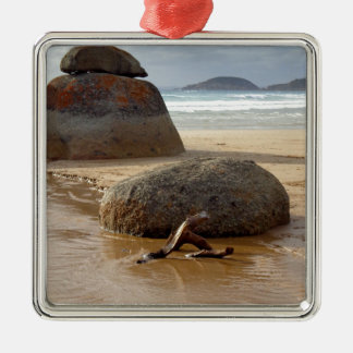 Zen Stacked Boulders on Beach Metal Ornament
