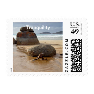 Zen Stacked Boulders on Beach Postage Stamps