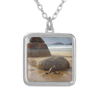Zen Stacked Boulders on Beach Silver Plated Necklace