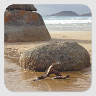 Zen Stacked Boulders on Beach Square Sticker