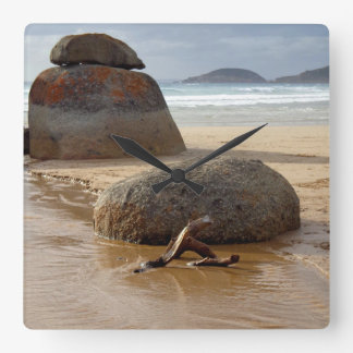 Zen Stacked Boulders on Beach Square Wall Clock