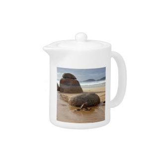 Zen Stacked Boulders on Beach Teapot
