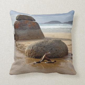 Zen Stacked Boulders on Beach Throw Pillow