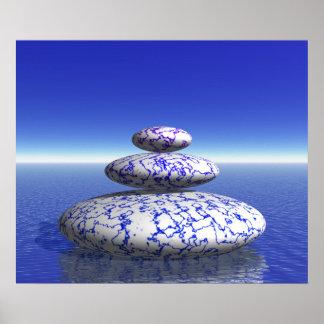 Zen Stone Blue Purple Ocean Love Peace Inspiration Poster
