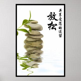ZEN Stone de relajación con los caracteres chinos Posters