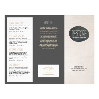 Zen Stone Massage Therapist  Tri-Fold Brochure