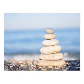zen stones sea ocean summer harmony serene stack postcard