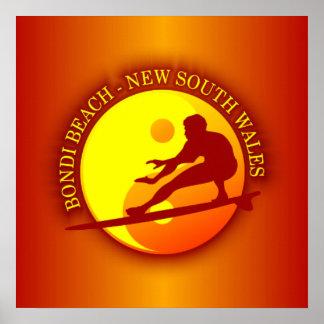 Zen Surfer (Sunburst) Bondi Beach Poster