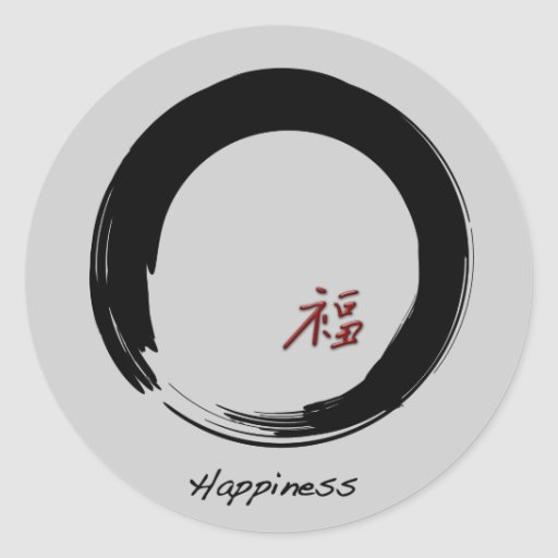 Zen Symbol with Happiness Character Classic Round Sticker