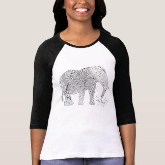 Zen Tangle Doodle Elephant Illustration T-Shirt