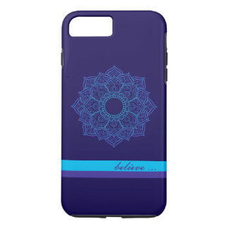 Zen Teal and Purple Mandala Believe iPhone 7 Case