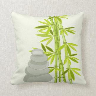 Zen tones and bamboo throw pillow