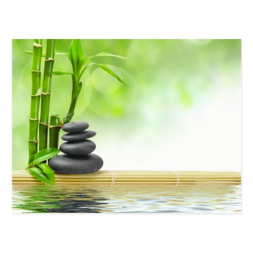 Zen tranquility water garden by healing love post card