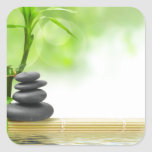 Zen tranquility water garden by healing love square sticker