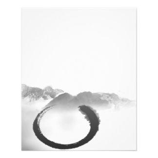 Zen tranquilo Enso de las montañas de la acuarela  Tarjetas Informativas