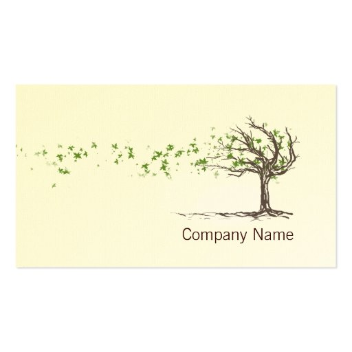 Zen Wind Tree With Leaves Business Card Template