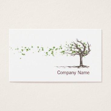 tashatzazzle Zen Wind Tree With Leaves Business Card Template