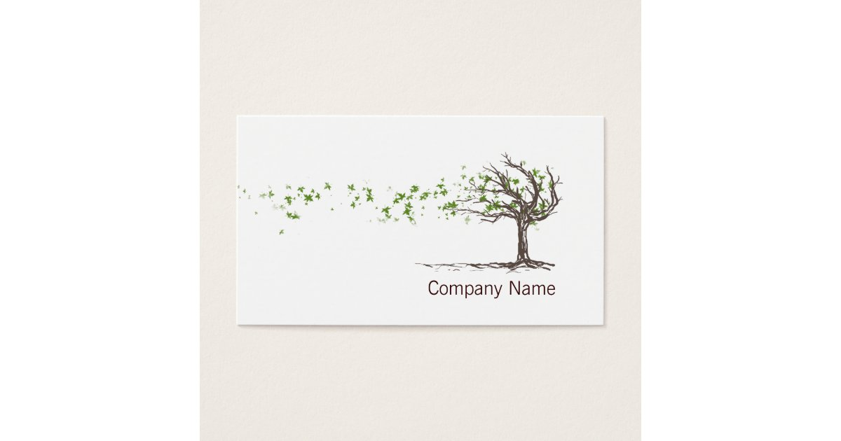 Zen Wind Tree With Leaves Business Card Template | Zazzle.com