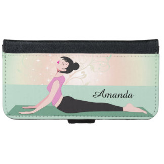 Zen Yoga Woman and Monogram Name Wallet Phone Case For iPhone 6/6s