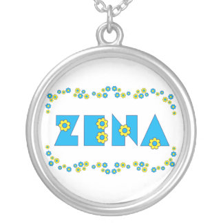 Zena in Flores Blue Silver Plated Necklace