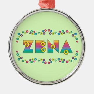 Zena in Flores Rainbow Metal Ornament