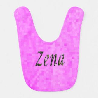 Zena, Name, Logo, Baby Girls Pink Bib. Baby Bib