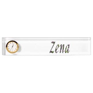 Zena, Name, Logo, Desk Name Plate With Clock.