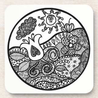 Zendoodle Love Tulip&Heart in Garden Glass Coaster