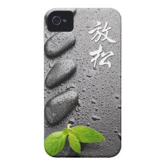 ZENES Stone de relajación con las hojas de menta Case-Mate iPhone 4 Fundas