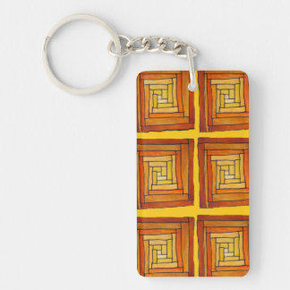 Zentangle Art Deco brown and yellow square pattern Acrylic Key Chain
