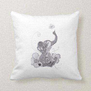 Zentangle Baby Elephant pillow