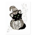 Zentangle Black Cat Green Eyes Pumpkin Postcard
