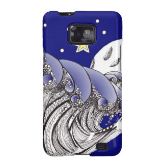 Zentangle Blue Waves and Full Moon Galaxy SII Covers