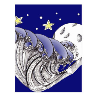 Zentangle Blue Waves and Full Moon Postcard