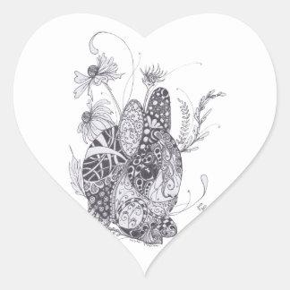 Zentangle Bunny Rabbit Heart Stickers
