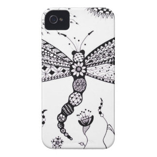 Zentangle Dragonfly iPhone 4 Case-Mate Case