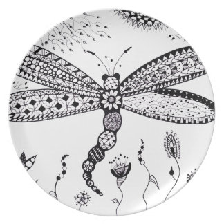 Zentangle Dragonfly Plates
