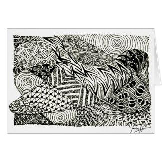 Zentangle en blanco y negro - Manatee abstracto Felicitación