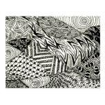 Zentangle en blanco y negro - Manatee abstracto Postales