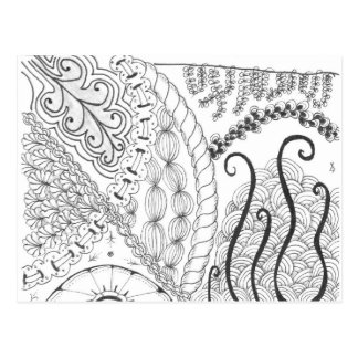 zentangle floral post card