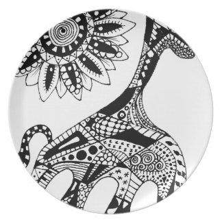 Zentangle giraffe dinner plates