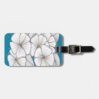 Zentangle Hibiscus with Paradise Blue Sky Travel Bag Tag