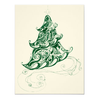 Zentangle Holiday Tree Personalized Invites