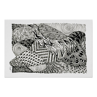 Zentangle in Black and White -Abstract Manatee Posters