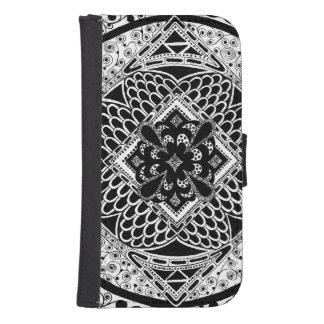 Zentangle in Black & White Galaxy S4 Wallet
