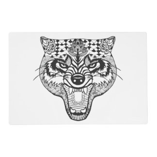 Zentangle Inspired Wolf Placemat