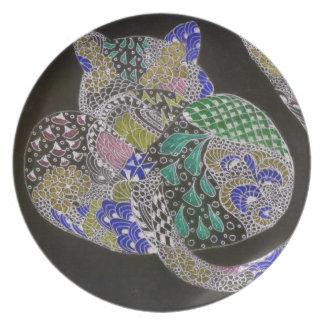 Zentangle leopard party plate