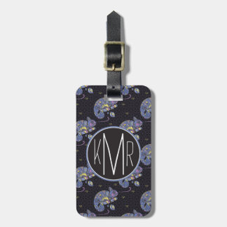 Zentangle Lizard | Monogram Luggage Tag