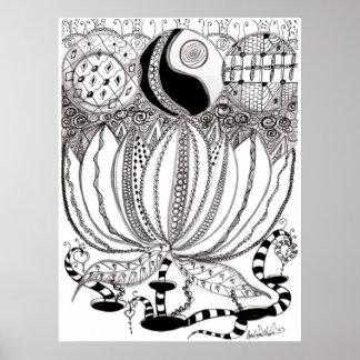 Zentangle Lotus Flower Poster