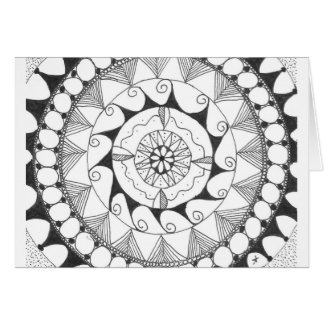 zentangle mandala - swirls greeting card